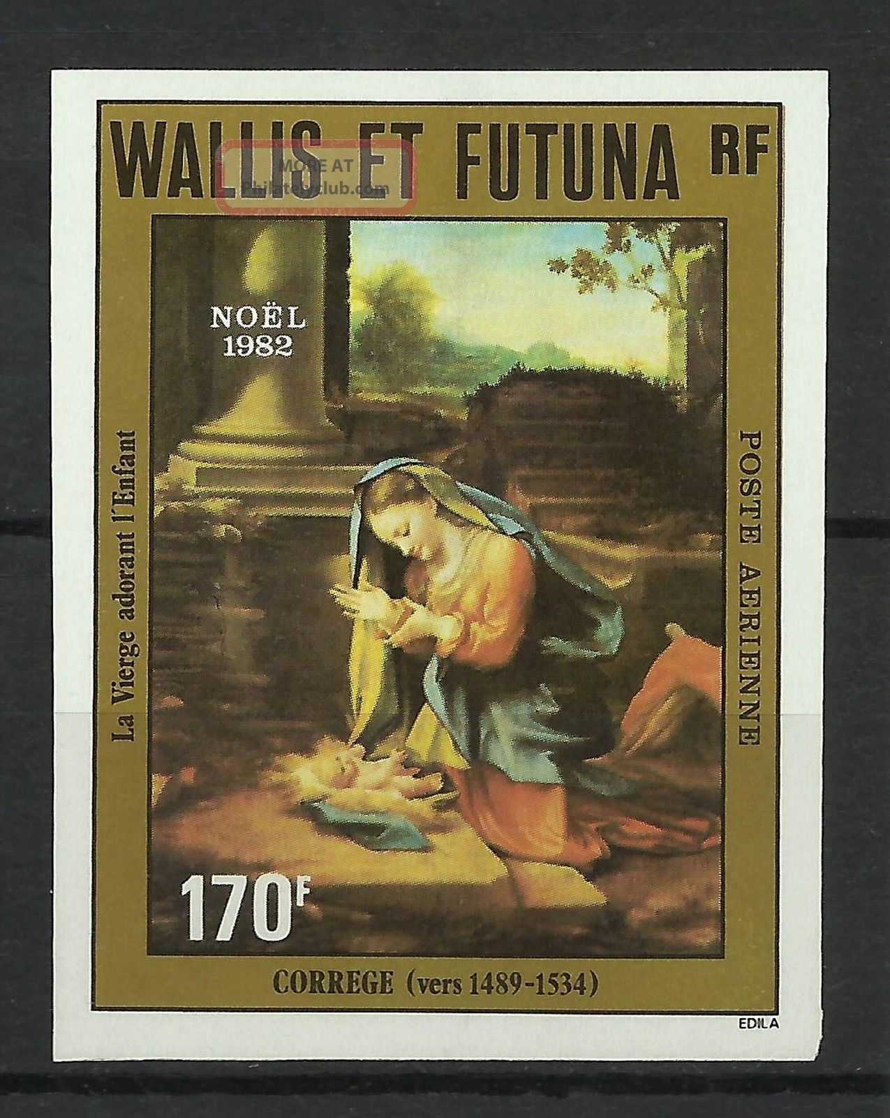 Wallis Futuna Christmas Paintings The Virgin Adoring The Child Imperf 1982 Topical Stamps photo