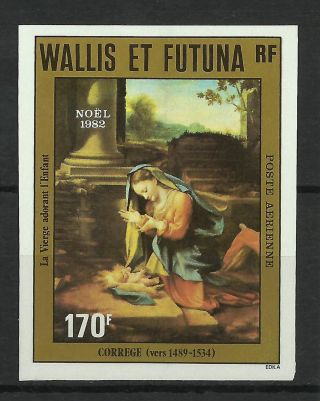 Wallis Futuna Christmas Paintings The Virgin Adoring The Child Imperf 1982 photo