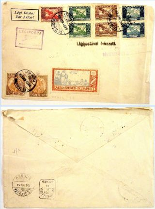 Hungary 1924 - 25 Airmail Issues On A Flown Cover Budapest To Sgeged (1 Cover) photo