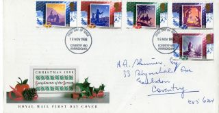 15 November 1988 Christmas Royal Mail First Day Cover Coventry Fdi photo