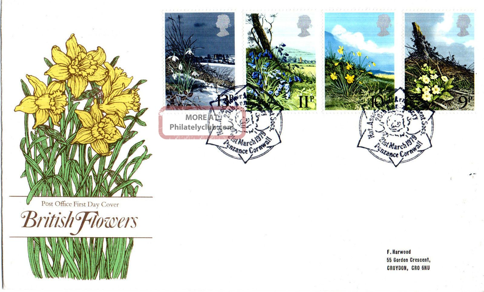 21 March 1979 Spring Flowers Post Office First Day Cover Penzance Cornwall Shs Topical Stamps photo