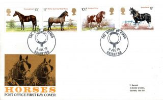 5 July 1978 Shire Horses Post Office First Day Cover Sport Of Kings Brighton Shs photo
