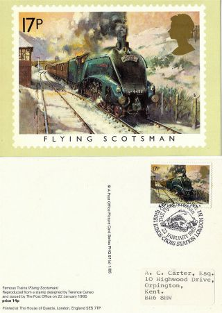 1985 Famous Trains 17p Phq 81a Flying Scotsman Kings Cross Shs photo