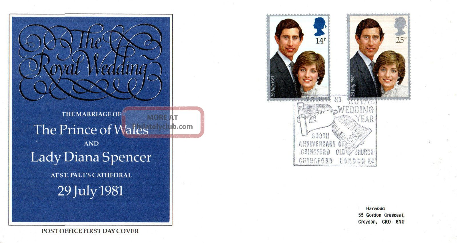 22 July 1981 Royal Wedding Post Office First Day Cover Chingford Old Church Shs Topical Stamps photo