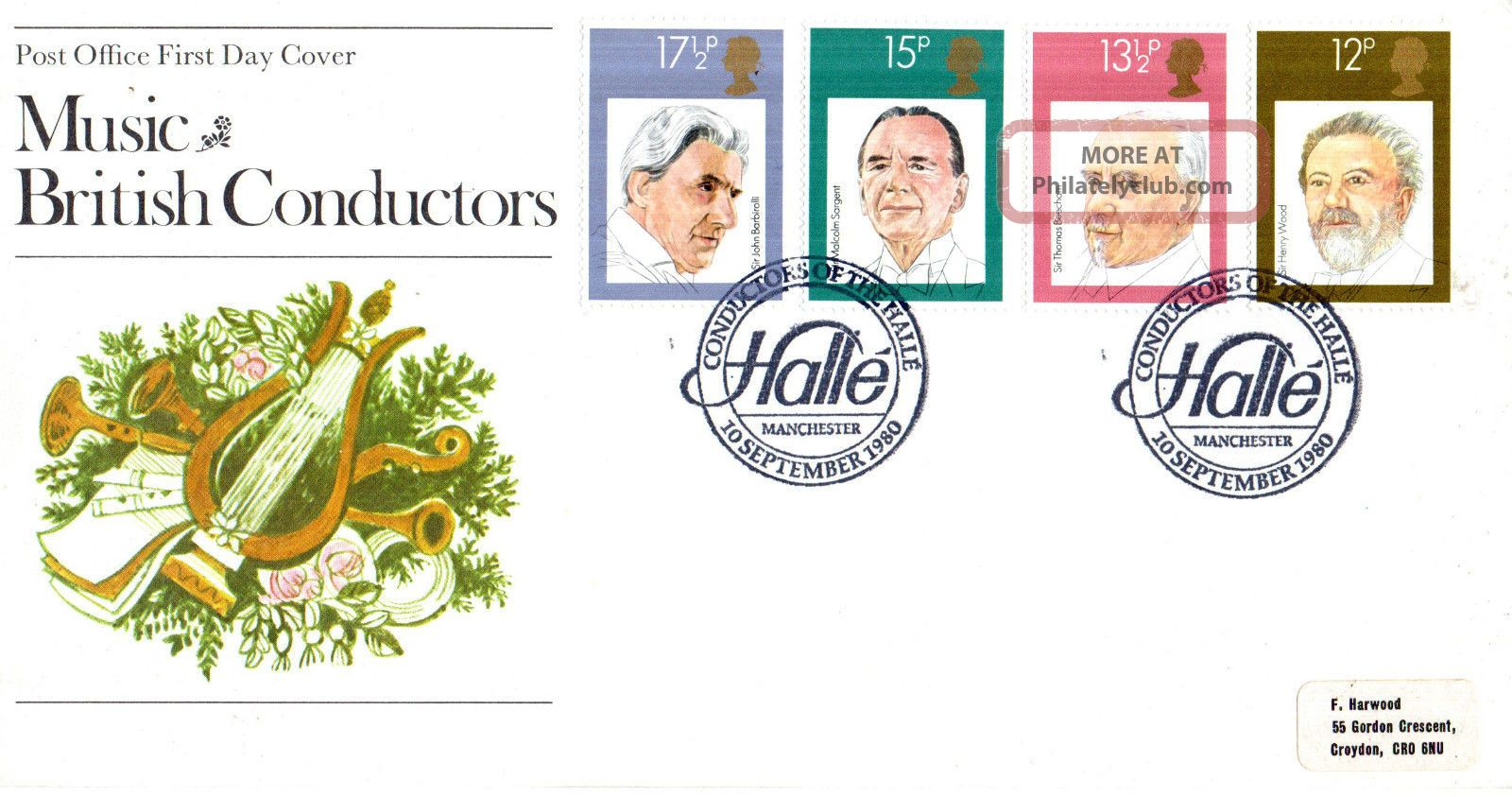 10 September 1980 Famous Conductors Po First Day Cover Conductors Of The Halle S Topical Stamps photo