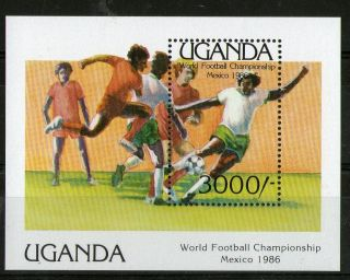 Uganda 1986 Mexico Football World Cup 3000/ - Miniature Sheet photo
