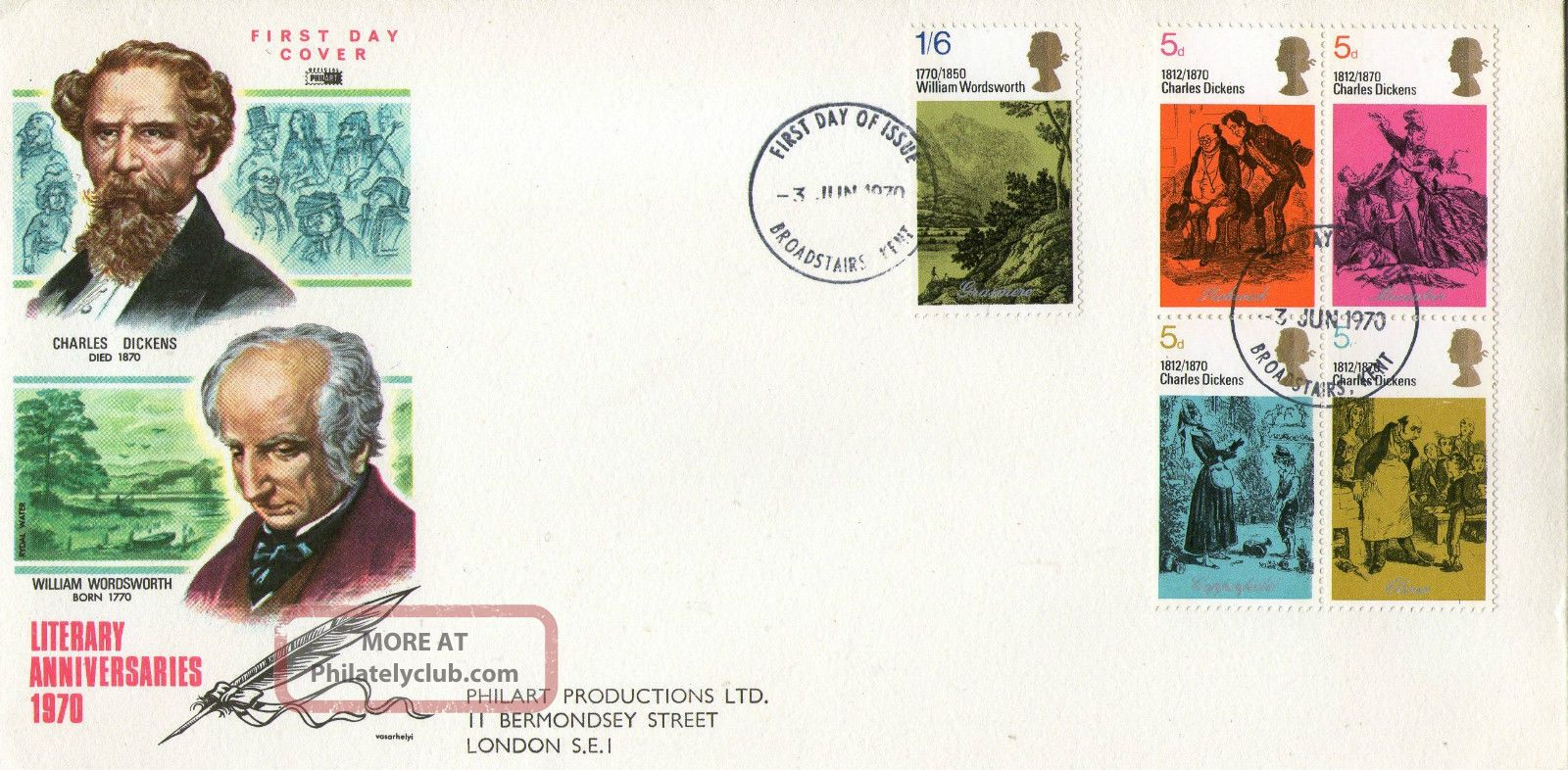 3 June 1970 Literary Anniversaries Philart Fdc Very Scarce Broadstairs Fdi Topical Stamps photo