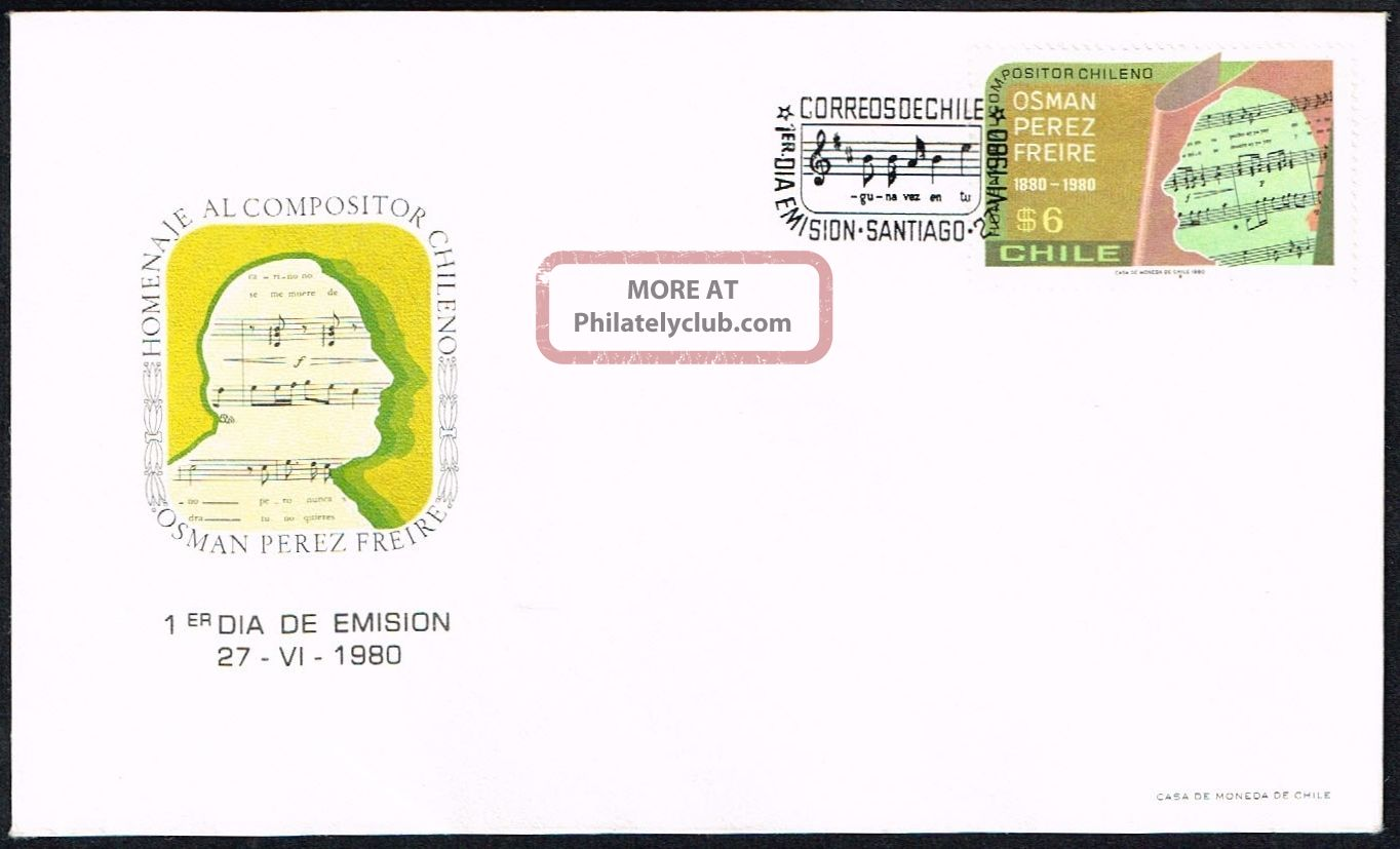 Chile Fdc Cover 1980 976 Art Music Composer Osman Perez Freire Topical Stamps photo