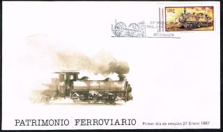 Chile Fdc Cover 1987 1209 Locomotive Railways photo