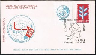 2116 Argentina Cover 1970 Roller Hockey World Championship San Juan photo