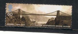Brunel - Clifton Suspension Bridge Illustrated On 2006 British Stamp - Nh photo