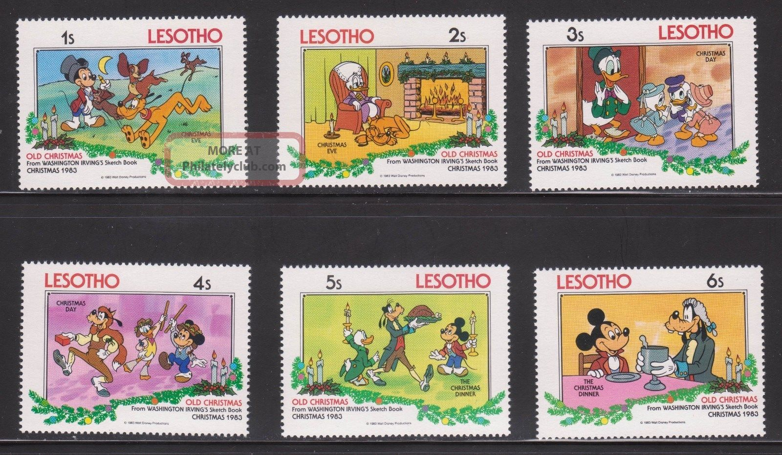 Lesotho - Sc 412 - 17 - Disney Characters - Christmas ' 83 Topical Stamps photo