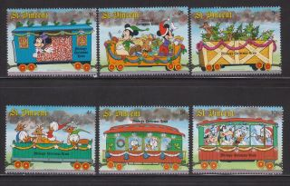 St.  Vincent - Sc 1121 - 26 - Disney Characters On Steam Train - Christmas ' 88 photo