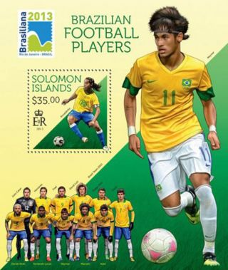 Solomon Islands 2013 Brazilian Football Players Stamp S/s 19m - 308 photo