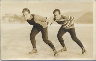Lake Placid 1932 Winter Olymoic Games Rppc The Strauss Brothers Speed Skaters photo