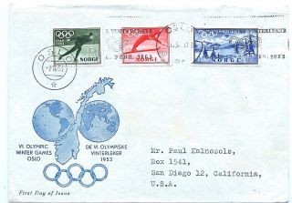 1952 Winter Olympic Games Oslo Sc B50 - 52 Fdc Mailed To Usa photo