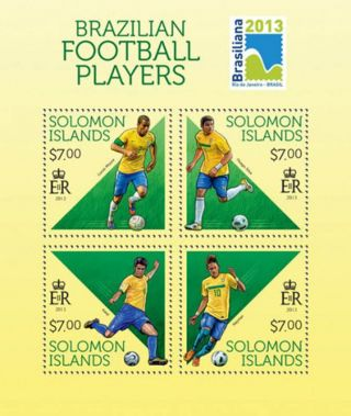Solomon Islands 2013 Brazilian Football Players 4 Stamp Sheet 19m - 307 photo