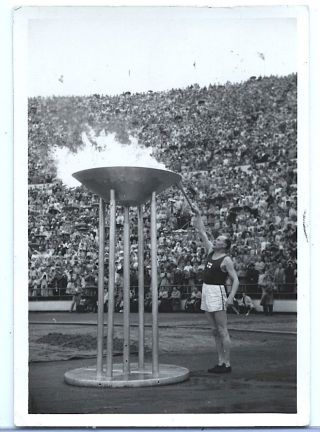 1952 Summer Olympic Games Helsinki,  Rppc Paavo Nurmi Lighting Olympic Flame photo