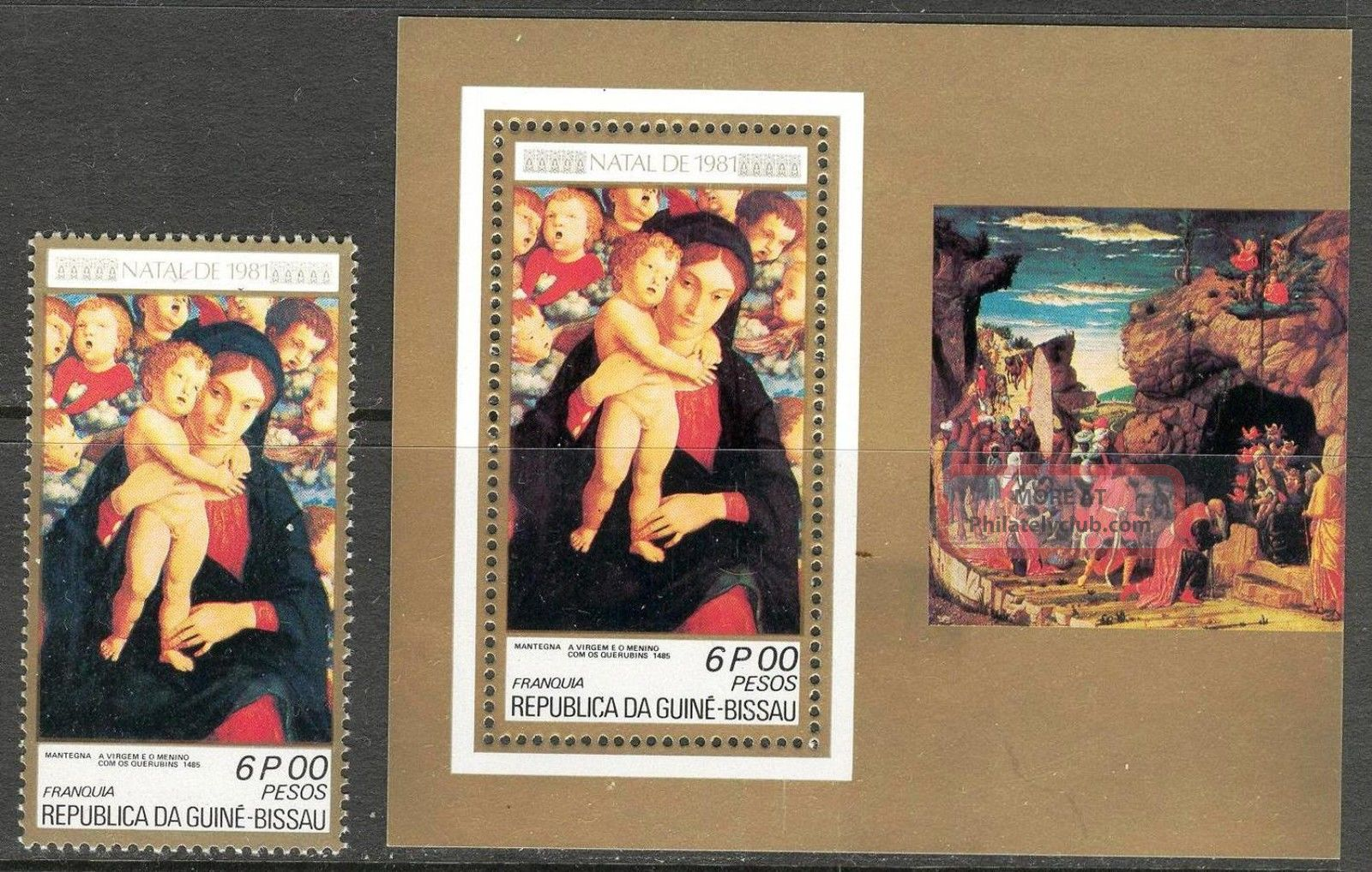 Guinea Bissau 1981 Cristmas Art Paintings Madonna Mantegna 1+ S/s Topical Stamps photo