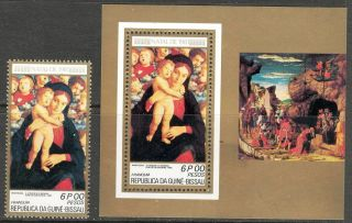 Guinea Bissau 1981 Cristmas Art Paintings Madonna Mantegna 1+ S/s photo