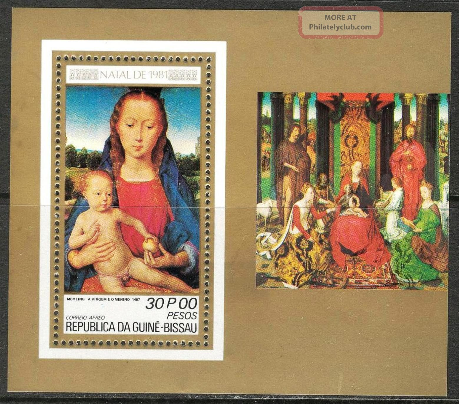 Guinea Bissau 1981 Cristmas Art Paintings Madonna Memling S/s Topical Stamps photo