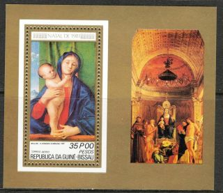 Guinea Bissau 1981 Cristmas Art Paintings Madonna Bellini S/s photo