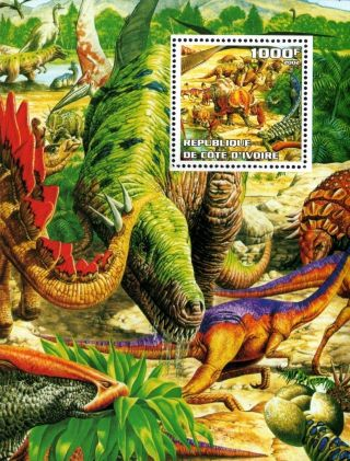 2002 Ivory Coast Souvenir Sheet Prehistoric Dinosaurs Reptiles Nature Fossil photo