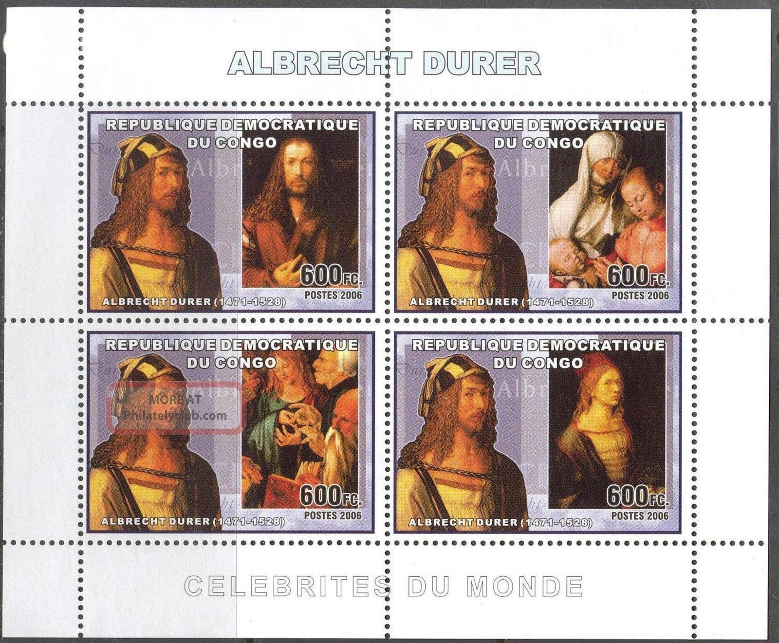 Congo 2006 Art Paintings Albrecht Durer Sheet Of 4 Topical Stamps photo