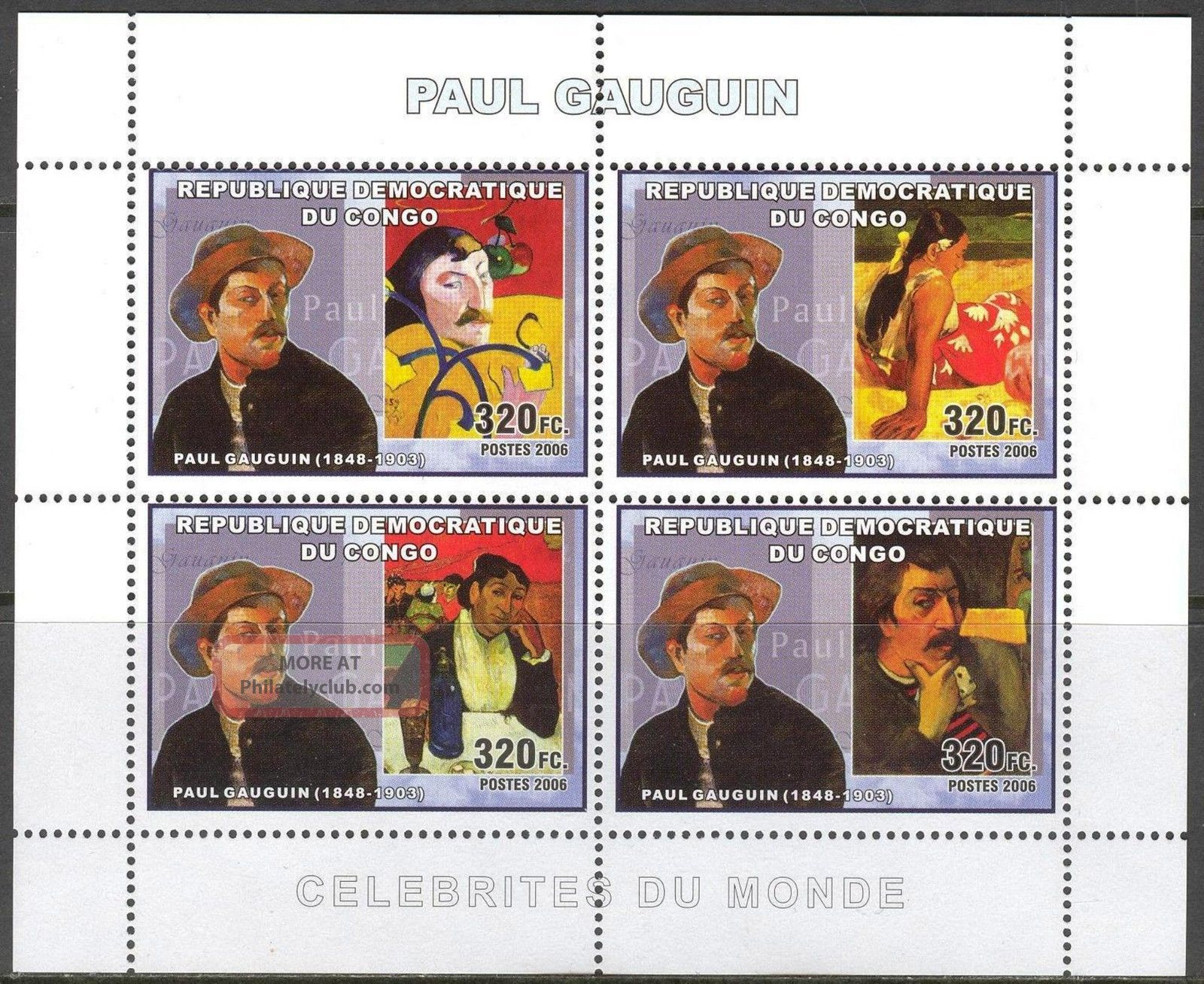 Congo 2006 Art Paintings Paul Gauguin Sheet Of 4 Topical Stamps photo