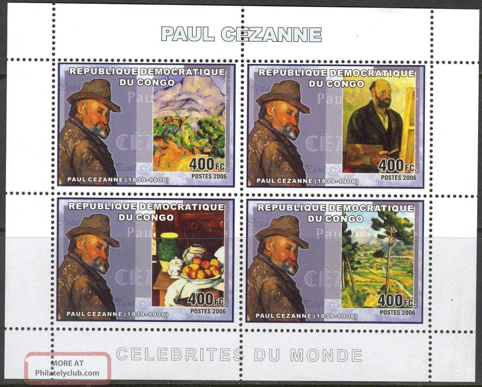 Congo 2006 Art Paintings Paul Cezanne Sheet Of 4 Topical Stamps photo