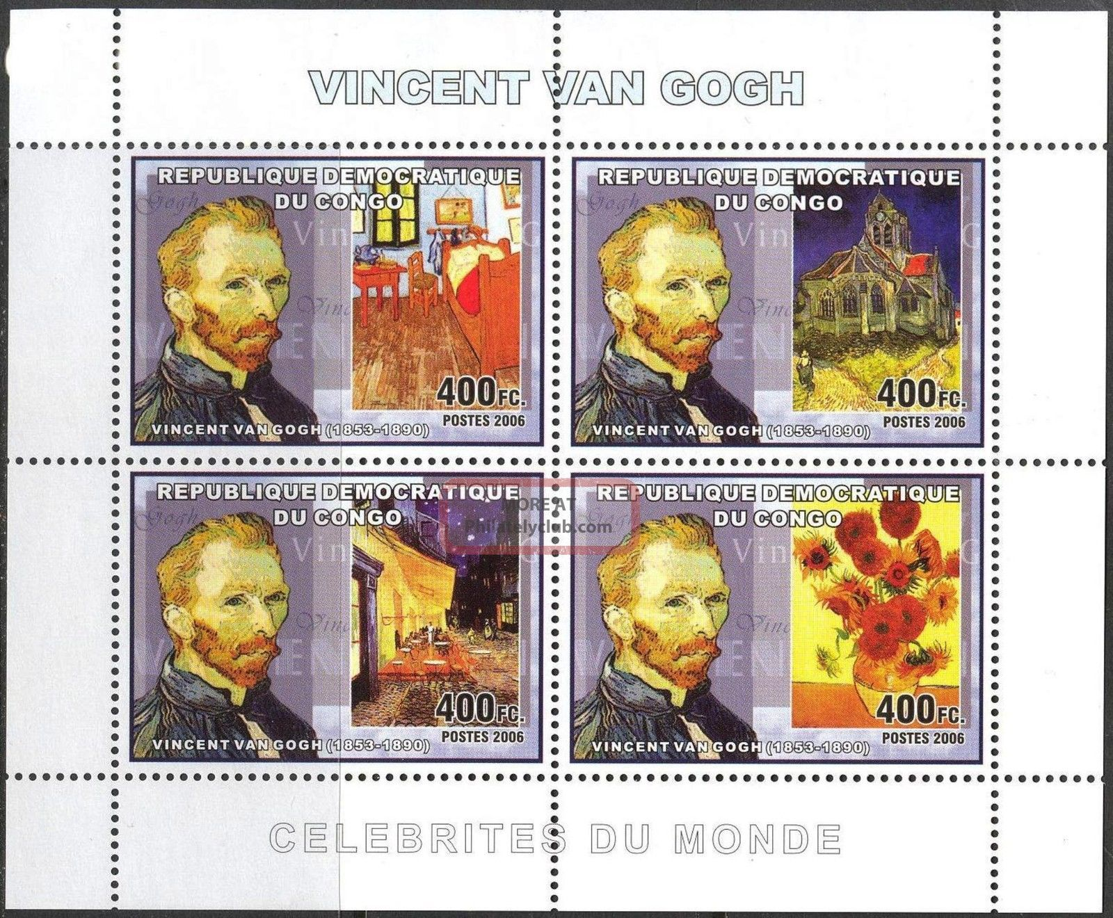 Congo 2006 Art Paintings Vincent Van Gogh Sheet Of 4 Topical Stamps photo