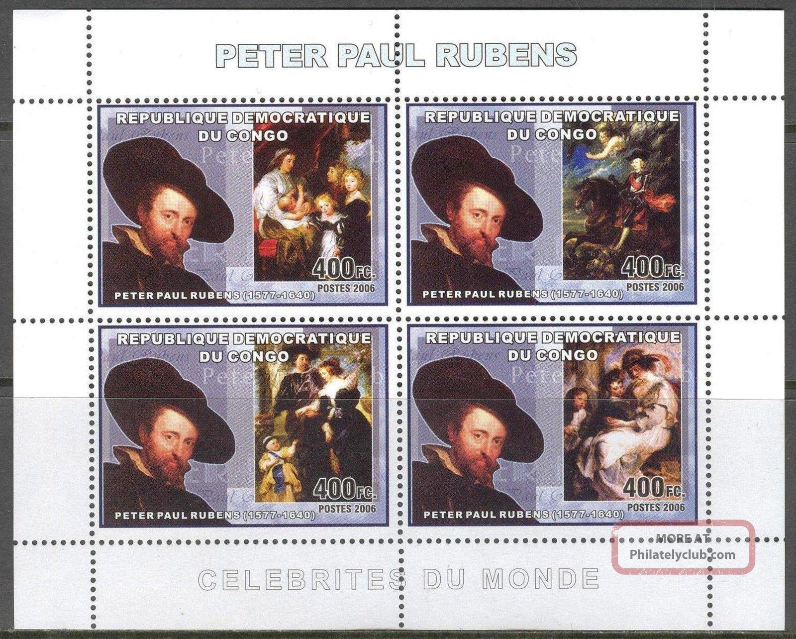 Congo 2006 Art Paintings Peter Paul Rubens Sheet Of 4 Topical Stamps photo