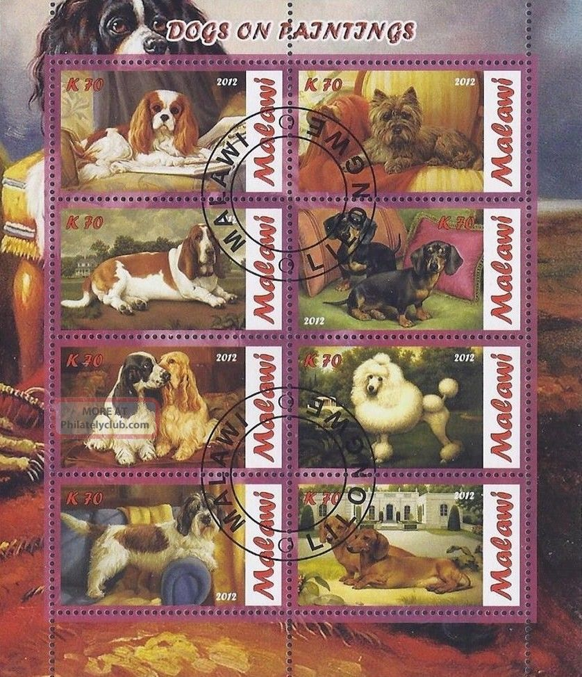 2012 Malawi Mini - Sheet Dogs Paintings Domestic Animals Worldwide Cto Topical Stamps photo
