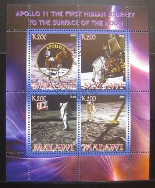 2012 Malawi Mini Sheet Of 4 Nasa Space Exploration Apollo 11 Moon Landing Cto photo