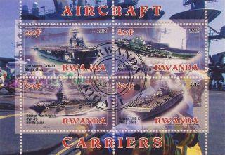2012 Rwanda Mini - Sheet World Aircraft Carriers Warships Cto photo