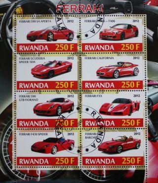 2012 Rwanda Postage Mini - Sheet Ferrari Sports Car Spider Scuderia Ffx Cto photo
