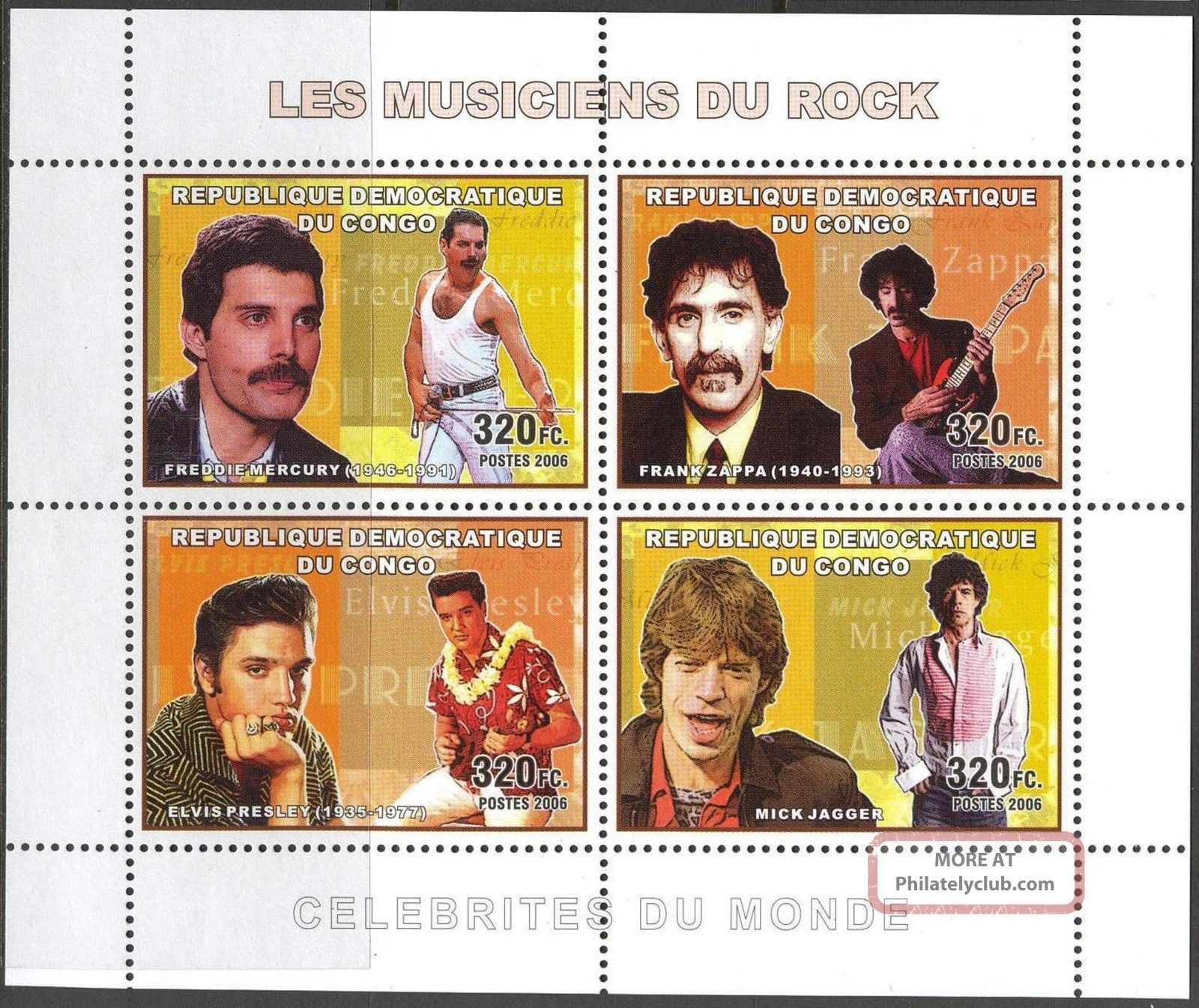 Congo 2006 Music Rock E.  Presley M.  Jager F.  Mercury Queen Zappa Sh.  Of 4 Topical Stamps photo