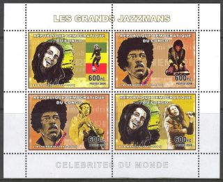 Congo 2006 Music Jazzmens Soccer Bob Marley Jimi Hendrix Sheet Of 4 photo