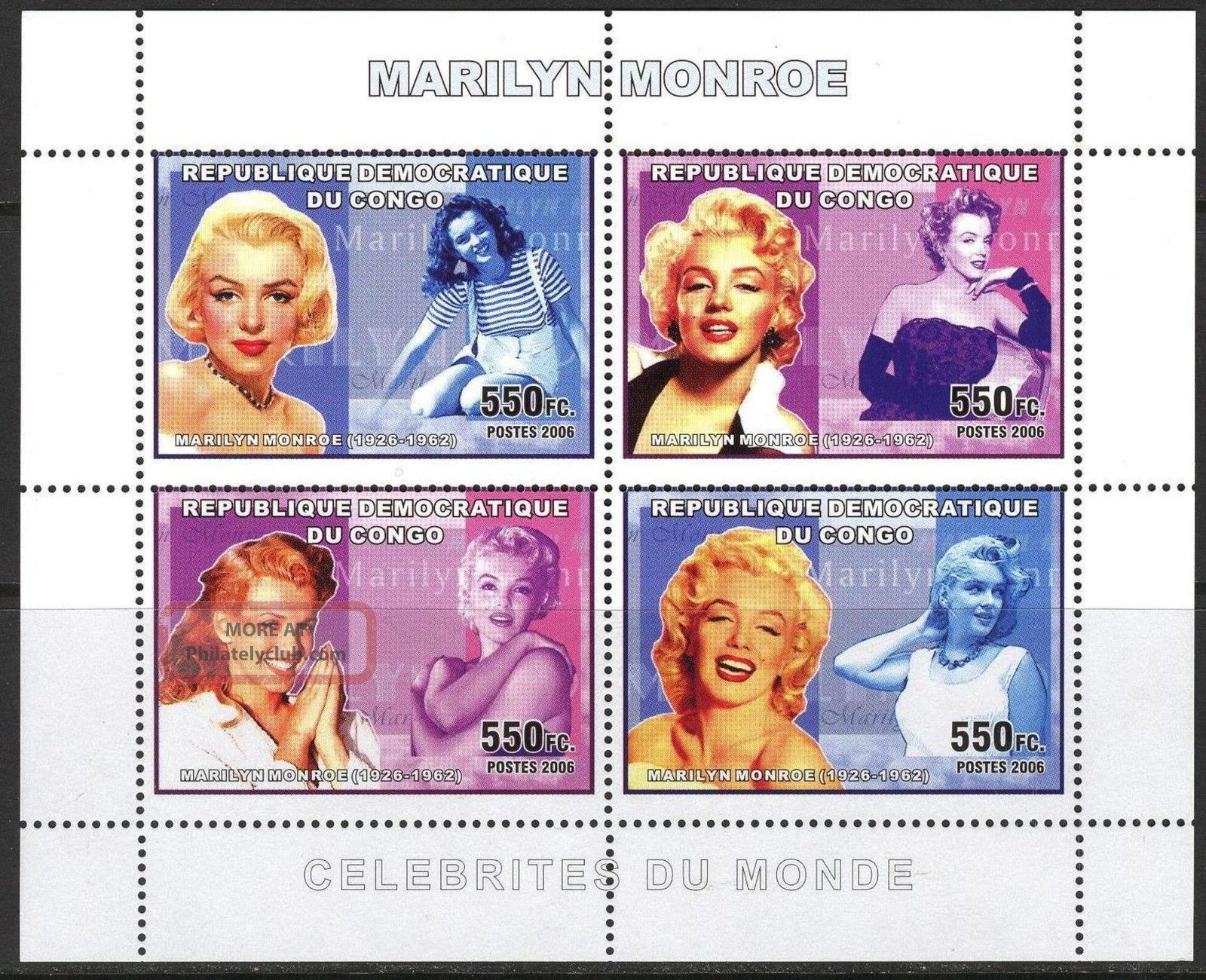 Congo 2006 Art Cinema Actors Marilyn Monroe Sheet Of 4 Topical Stamps photo