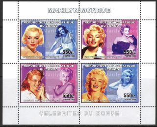 Congo 2006 Art Cinema Actors Marilyn Monroe Sheet Of 4 photo