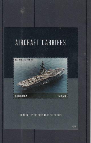 Liberia 2012 Aircraft Carriers 1v S/s Ships Military Uss Ticonderoga photo