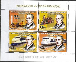 Congo 2006 Tribute Georges Stephenson Trains Locomotives Sheet Of 4 photo