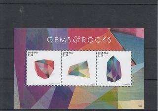 Liberia 2013 Gems & Rocks Ii 3v M/s Rhodochrosite Opal Tanzanite Gemology photo