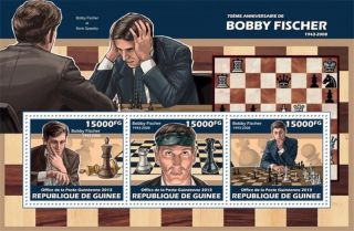 Guinea - 2013 Bobby Fischer 70th Anniversary - 3 Stamp Sheet - 7b - 2283 photo