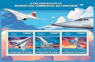 Guinea - 2013 Concorde 10th Anniversary - 3 Stamp Sheet - 7b - 2287 photo