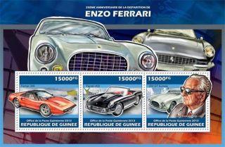 Guinea - 2013 Ferrari 25th Anniversary - 3 Stamp Sheet - 7b - 2293 photo