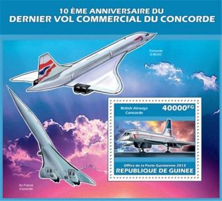 Guinea - 2013 Concorde 10th Anniversary - Stamp Souvenir Sheet - 7b - 2288 photo