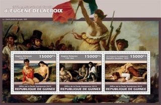Guinea - 2013 Delacroix 150th Anniversary - 3 Stamp Sheet - 7b - 2295 photo