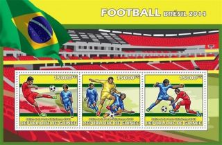 Guinea - 2013 Football Brazil 2014 - 3 Stamp Sheet - 7b - 2299 photo