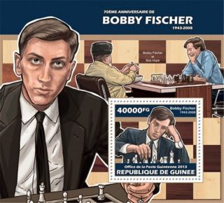 Guinea - 2013 Bobby Fischer 70th Anniversary - Souvenir Sheet - 7b - 2284 photo